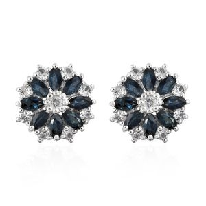 Monte Belo Indicolite, White Topaz Platinum Over Sterling Silver Floral Stud Earrings TGW 2.00 cts.