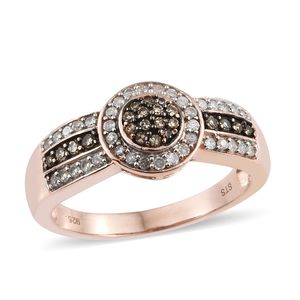 Natural Champagne Diamond, Diamond Vermeil RG Over Sterling Silver Ring (Size 10.0) TDiaWt 0.50 cts, TGW 0.50 cts.