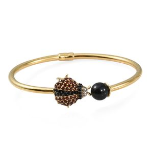 GP Thai Black Spinel, Multi Gemstone Vermeil YG Over Sterling Silver Ladybug Cuff (7.25 in) TGW 5.32 cts.