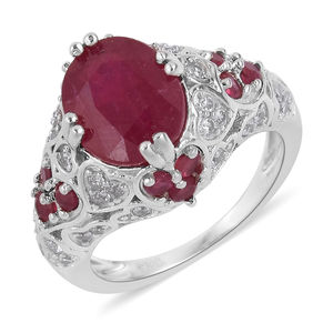 Niassa Ruby, White Zircon Platinum Over Sterling Silver Ring (Size 5.0) TGW 4.91 cts.