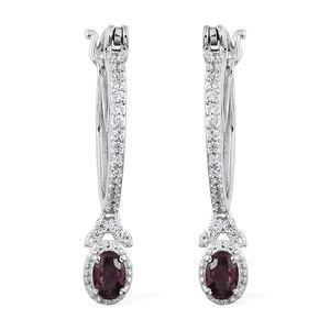 Burmese Lavender Spinel, Cambodian Zircon Platinum Over Sterling Silver Drop Hoop Earrings TGW 1.46 cts.