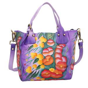 SUKRITI - Purple Poppy Flower Hand Painted Leather Satchel Bag (14x4.5x9 in)