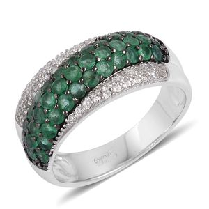 Brazilian Emerald, White Zircon Black Rhodium and Sterling Silver Cluster Ring (Size 7.0) Total Gem Stone Weight 1.83 Carat