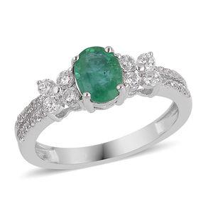Premium Brazilian Emerald, White Zircon Sterling Silver Floral Split Ring (Size 7.0) TGW 1.50 cts.