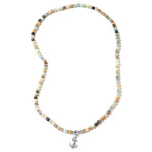 Multi Color Amazonite, Chroma Silvertone Anchor Stretchable Necklace (36 in) TGW 390.00 cts.