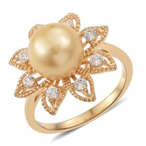 South Sea Golden Pearl (10.5-11 mm), Cambodian Zircon Vermeil YG Over Sterling Silver Flower Ring (Size 7.0) TGW 0.80 cts.