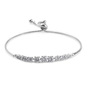 Simulated Diamond Stainless Steel Bolo Bracelet (Adjustable) TGW 4.75 cts.