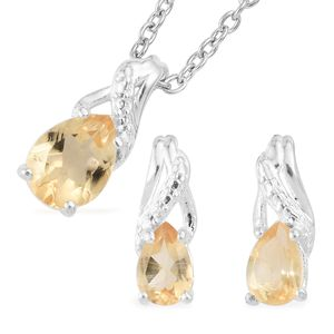 Brazilian Citrine Sterling Silver Earrings and Pendant With Stainless Steel Chain (20 in) TGW 1.55 cts.