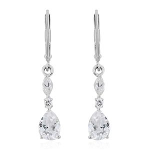 White Topaz Sterling Silver Lever Back Earrings TGW 3.10 cts.