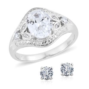 KARIS Collection - Simulated Diamond Platinum Bond Brass Stud Earrings and Ring (Size 10) TGW 5.35 cts.