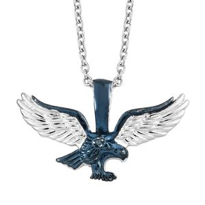 Blue Diamond (IR) Accent Black Rhodium & Platinum Over Sterling Silver Eagle Pendant With Stainless Steel Chain (20 in)