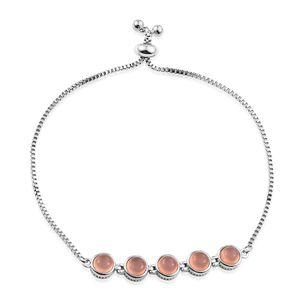 Pink Chalcedony Platinum Bond Brass Bolo Bracelet (Adjustable) TGW 4.80 cts.