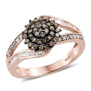 Natural Champagne Diamond, Diamond Black Rhodium & Vermeil RG Over Sterling Silver Ring (Size 9.0) TDiaWt 0.76 cts, TGW 0.76 cts.