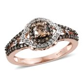Natural Champagne Diamond, Diamond Black Rhodium & Vermeil RG Over Sterling Silver Ring (Size 10.0) TDiaWt 1.00 cts, TGW 1.00 cts.