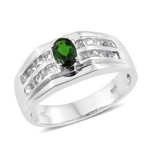 Russian Diopside, White Topaz Platinum Over Sterling Silver Men's Signet Ring (Size 14.0) TGW 2.20 cts.