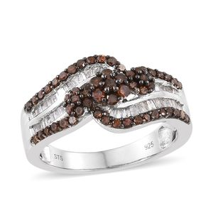 Red Diamond (IR), Diamond Black Rhodium & Platinum Over Sterling Silver Ring (Size 5.0) TDiaWt 1.04 cts, TGW 1.04 cts.