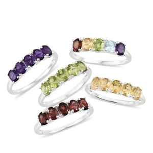 TLV Set of 5 Multi Gemstone Sterling Silver 5 Stone Line Rings (Size 11) TGW 9.32 cts.