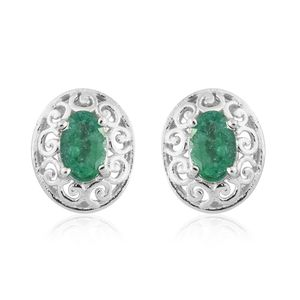 Brazilian Emerald Platinum Over Sterling Silver Earrings TGW 0.850 Cts. TGW 0.85 Cts.
