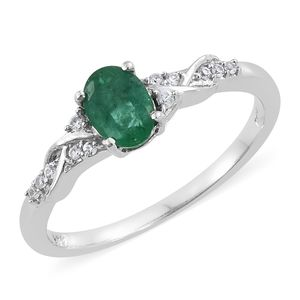 Brazilian Emerald, Cambodian Zircon Platinum Over Sterling Silver Ring (Size 6.0) TGW 0.89 cts.