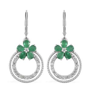 Brazilian Emerald, Cambodian Zircon Platinum Over Sterling Silver Lever Back Earrings TGW 2.10 cts.