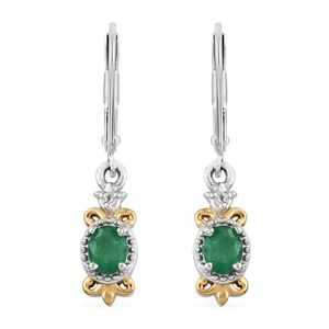 Brazilian Emerald, Cambodian Zircon 14K YG and Platinum Over Sterling Silver Lever Back Earrings TGW 0.70 cts.