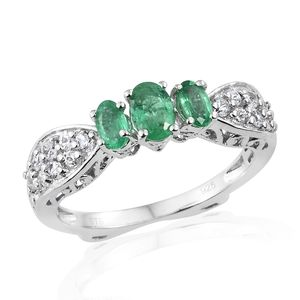 Brazilian Emerald, Cambodian Zircon Platinum Over Sterling Silver Ring (Size 7.0) TGW 1.71 cts.