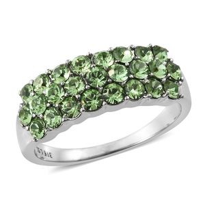 Stainless Steel Cluster Ring (Size 5.0) Made with SWAROVSKI Peridot Crystal