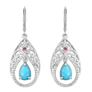 Arizona Sleeping Beauty Turquoise, Multi Gemstone Platinum Over Sterling Silver  Inner Drop Lever Back Dangle Earrings TGW 2.91 cts.