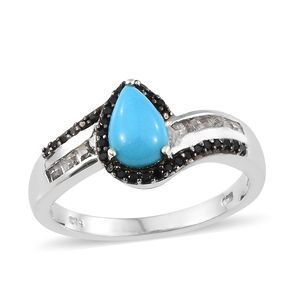 Arizona Sleeping Beauty Turquoise, Multi Gemstone Platinum Over Sterling Silver Ring (Size 7.0) TGW 2.04 cts.
