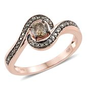 Natural Champagne Diamond Vermeil RG Over Sterling Silver Ring (Size 9.0) TDiaWt 0.75 cts, TGW 0.75 cts.