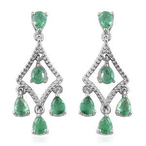 Brazilian Emerald Platinum Over Sterling Silver Dangle Earrings TGW 1.40 cts.
