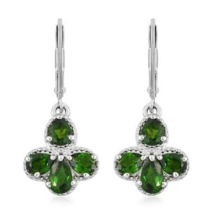 Russian Diopside Platinum Over Sterling Silver Lever Back Earrings TGW 3.25 cts.