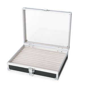 Black Aluminium Ring Box with Scratch Protection Velvet Lining (Approx. 88 Rings) (10x2.5x8 in)