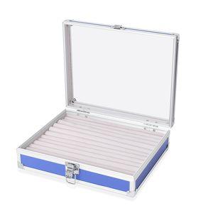 Blue Aluminium & Silvertone Ring Box with Latch Closure (10x8.1x2.8 in)