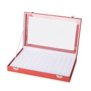 Red Leatherette Paper Ring Box (72 Rings) (11.5x1.5x7 in)