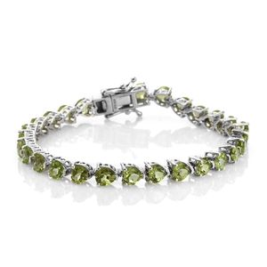 TLV Hebei Peridot Platinum Over Sterling Silver Bracelet (6.75 In) TGW 13.22 cts.