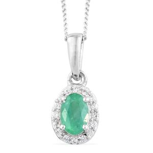 Brazilian Emerald, Cambodian Zircon Platinum Over Sterling Silver Pendant With Chain (20 in) TGW 0.55 cts.