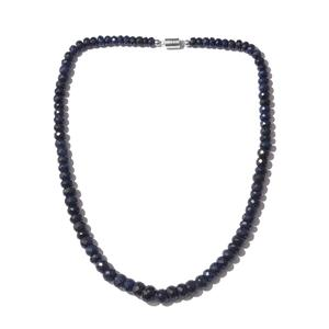 Enhanced Blue Sapphire Beads Platinum Over Sterling Silver Necklace (20 in) TGW 336.94 cts.