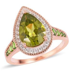 Hebei Peridot, Russian Diopside, White Zircon 14K RG Over Sterling Silver Ring (Size 8.0) TGW 4.91 cts.