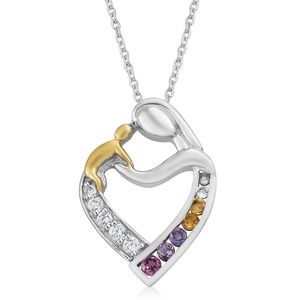 KARIS Collection - Multi Gemstone ION Plated 18K YG & Platinum Bond Brass Heart Pendant With Stainless Steel Chain (20 in) TGW 1.02 cts.