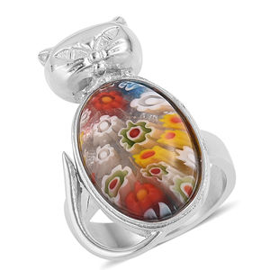 Murano Millefiori Glass Stainless Steel Ring (Size 7.0) TGW 3.00 cts.