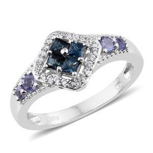 Monte Belo Indicolite, Multi Gemstone Platinum Over Sterling Silver Ring (Size 5.0) TGW 0.83 cts.