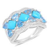 Arizona Sleeping Beauty Turquoise, Swiss Blue Topaz, White Zircon Sterling Silver Ring (Size 7.0) TGW 4.36 cts.