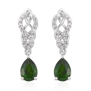 Russian Diopside, Cambodian Zircon Platinum Over Sterling Silver Drop Earrings TGW 2.57 cts.