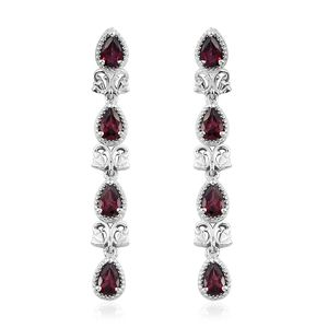 GP Orissa Rhodolite Garnet, Kanchanaburi Blue Sapphire Platinum Over Sterling Silver Earrings TGW 3.60 cts.