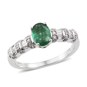 Premium Emerald, Diamond Platinum Over Sterling Silver Ring (Size 6.0) TDiaWt 0.34 cts, TGW 1.34 cts.