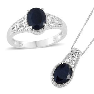 Madagascar Blue Sapphire, Cambodian Zircon Platinum Over Sterling Silver Ring (Size 7) and Pendant With Chain (20 in) TGW 4.96 cts.
