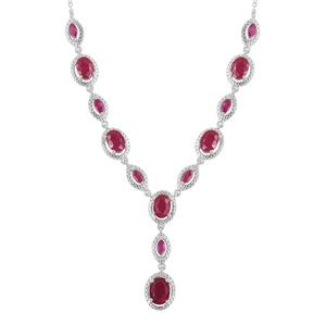 Niassa Ruby Sterling Silver Princess Drop Necklace (18-20 in) TGW 9.41 cts.
