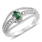 Brazilian Emerald, Cambodian Zircon Platinum Over Sterling Silver Split Ring (Size 7.0) TGW 0.70 cts.