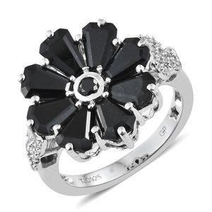GP Australian Black Tourmaline, Multi Gemstone Platinum Over Sterling Silver Floral Ring (Size 7.0) TGW 6.11 cts.